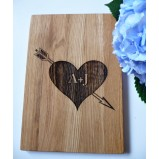 Heart with Initials Personalised Oak Cutting Board