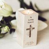 Personalised In Loving Memory Wooden Tealight Candle Holder