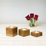 Set Of Oak Tea Light Holders