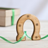 Lucky Wooden Horseshoe Organic Teether