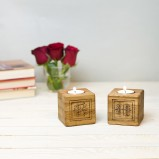 Personalised Oak Tealight Candle Holder