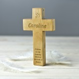 Personalised Wooden Cross With Dove Keepsake Gift