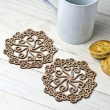 Folk Art Wooden Coaster Set