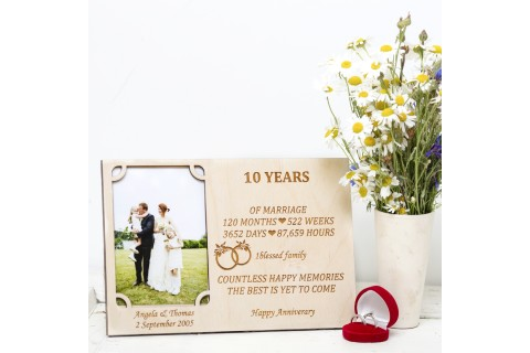 Natural Gift Store 10 Years Wedding Anniversary Personalised Photo