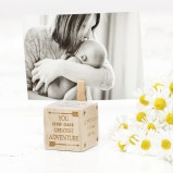 New Baby Personalised Wooden Block Photo Holder